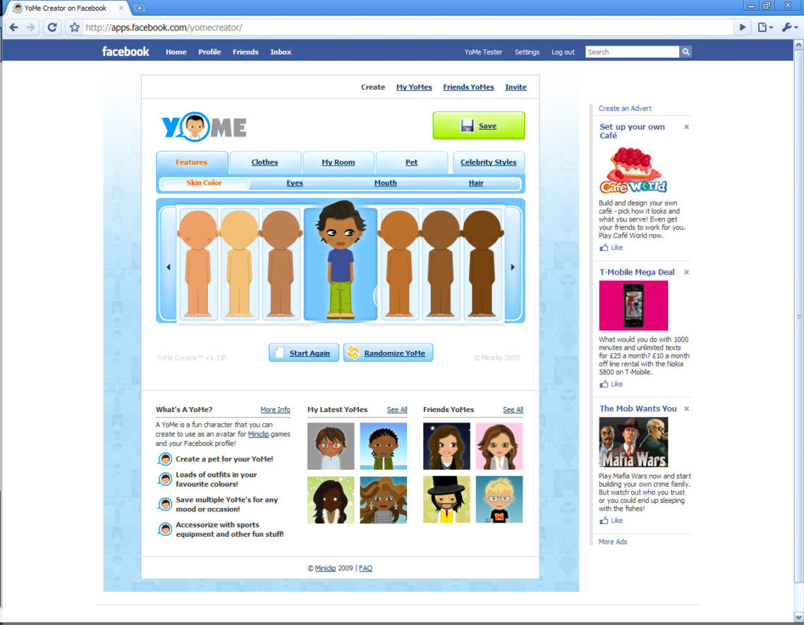 Screenshot of the YoMe App for Facebook