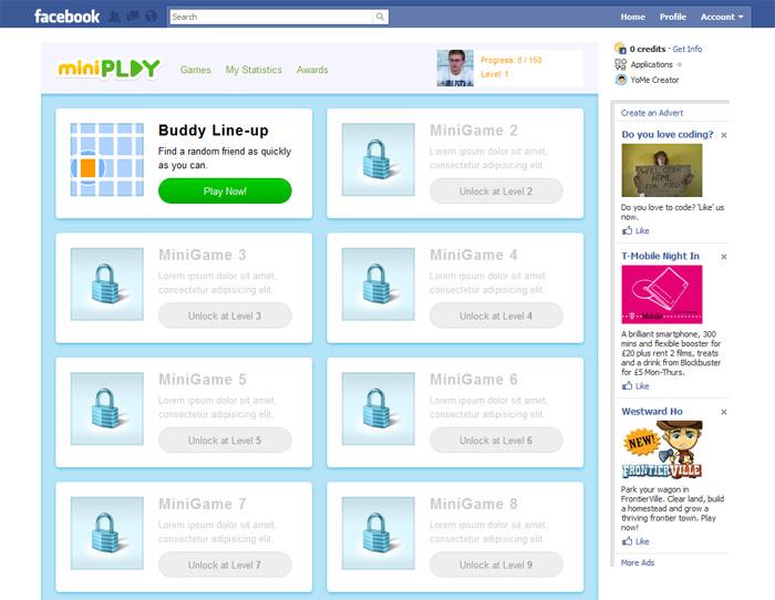 Miniplay Game selection screen